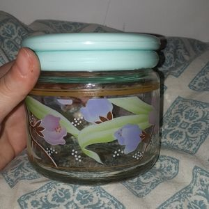 Kio Indonesia   vintage floral  glass container